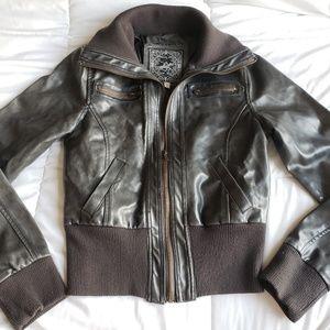 Jackets & Blazers - Black faux zip up jacket